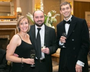 Simon and Suzanne Bond and Paul Wright at Gala Ball - NIOS