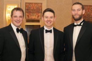 Sam Mills Michael Foster and Gareth Savage at the Gala Ball - NIOS